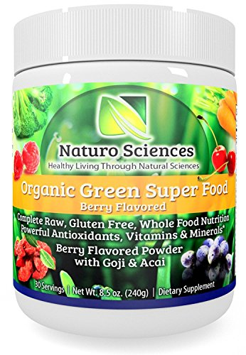 Organic-Greens-Super-Food-By-Naturo-Sciences-Complete-Raw-Whole-Foods-Nutrition-Powerful-Anitioxidants-Vitamins-Minerals-with-Goji-and-Acai-Best-Tasting-Formula-Amazing-Berry-Flavor-85oz-240g-30-Servi-0